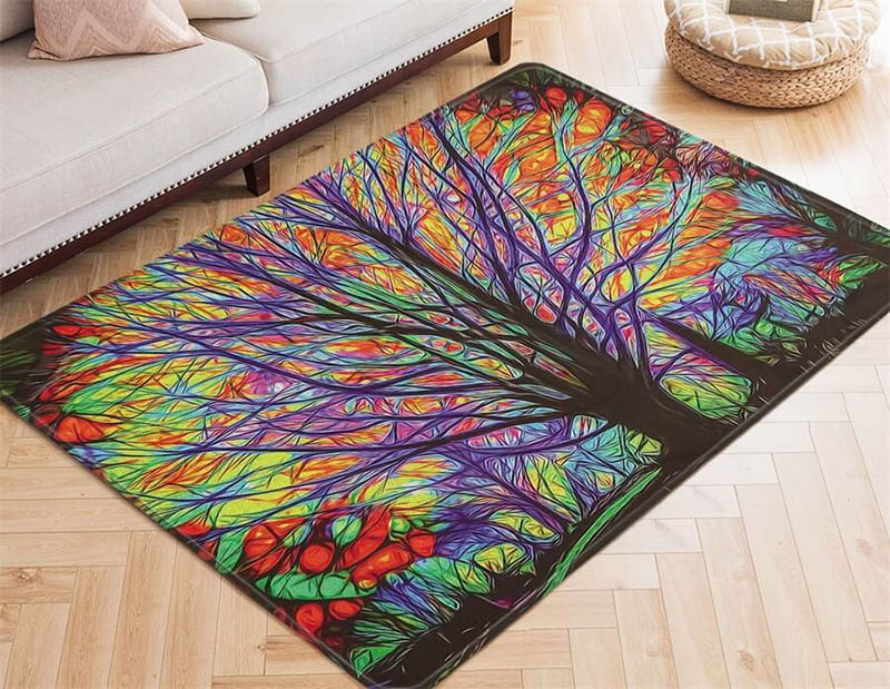 colorful tree area rug