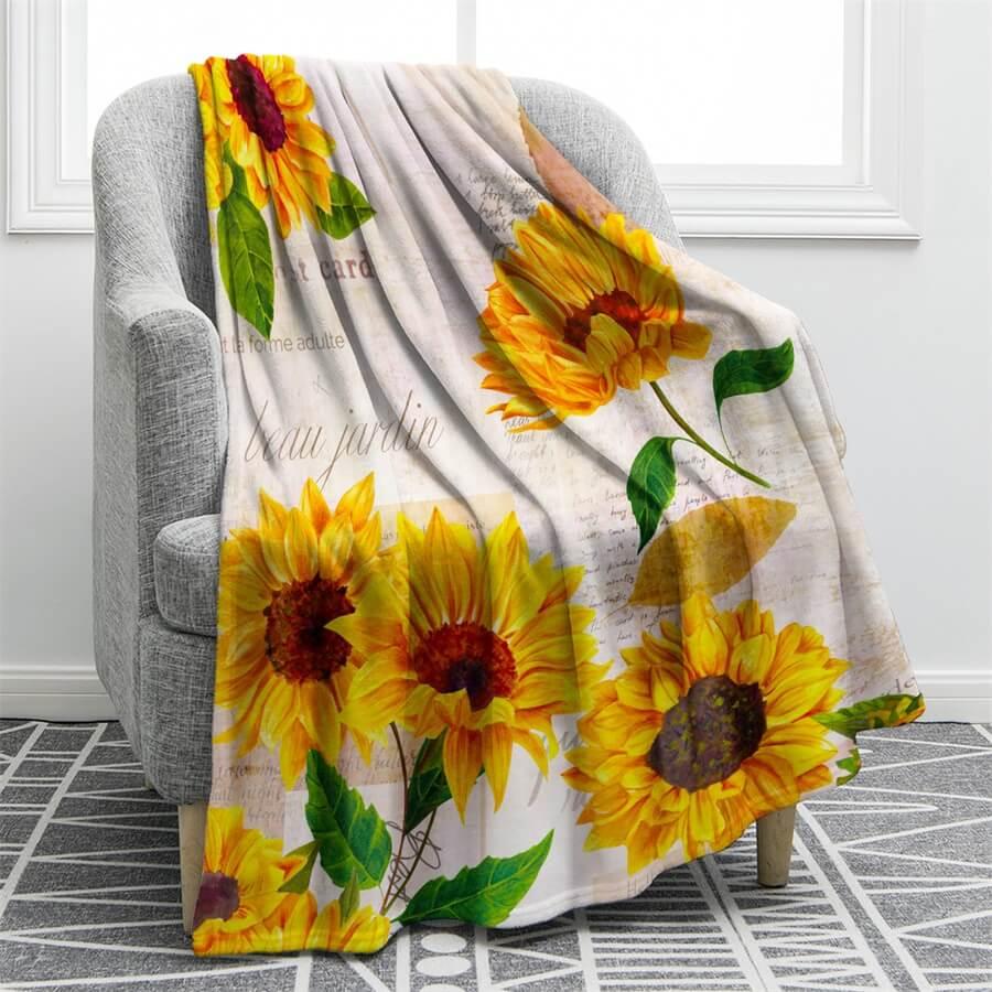 sunflower flannel blanket